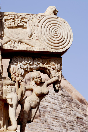 East gateway or torna of maha stupa no 1 oldest stone structure of Buddhist architectural forms at Sanchi,Bhopal,Madhya Pradesh,India