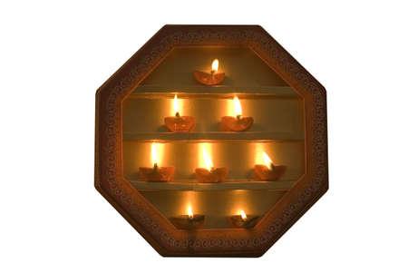 Oil lamps decoration during Diwali deepawali festival,India