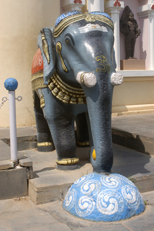 Big and Colourful statue of elephant at entrance of Nayaks Darbar Hall,Thanjavur palace,Thanjavur,Tamil Nadu,India