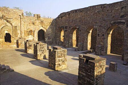 Ruins of Golconda fort built by Mohammed Quli Qutb Shah 16th century,Hyderabad,Andhra Pradesh,India LANG_EVOIMAGES