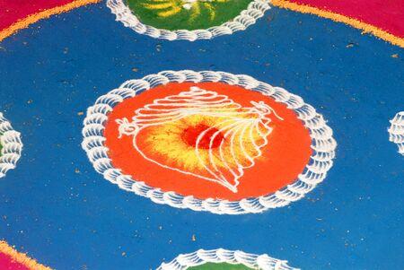Rangoli floor design for celebrating Gudi Padva festival,Thane,Maharashtra,India Stock Photo