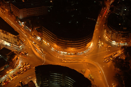 Aerial view of central Mumbai city at nigh time,Bombay Mumbai,Maharashtra,India