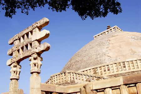 Great stupa no 1 oldest stone structure of Buddhist architectural forms South gateway view at Sanchi,Bhopal,Madhya Pradesh,India Stock Photo