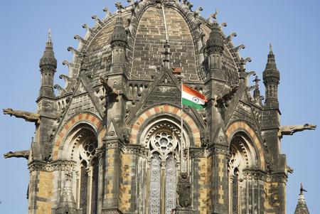 Close up picture of Victoria Terminus (VT) named Chhatrapati Shivaji Terminus Station (CST),Bombay Mumbai,Maharashtra,India Stock Photo