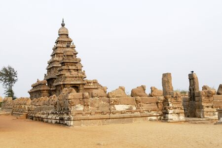 Shore Temple in Mahabalipuram is one of the oldest temple in standing on edge of sea,Mahabalipuram,Tamil Nadu,India