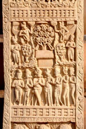 Close-up of west gateway of stupa 1 front view incarnation of Buddha as tree,Sanchi near Bhopal,Madhya Pradesh,India