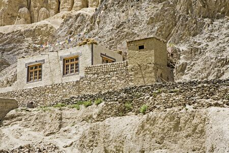 Traditional two level dry toilet on right of house,Shey,Ladakh,Jammu & Kashmir,India