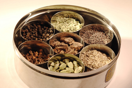 Indian Spices,Traditional spice box in India