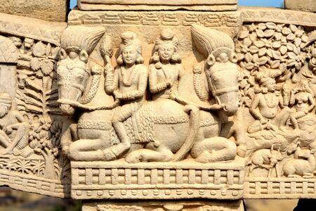 Close-up of eastern pillar of North gateway of stupa 1 Inner view showing story of Buddha,Sanchi,Bhopal,Madhya Pradesh,India