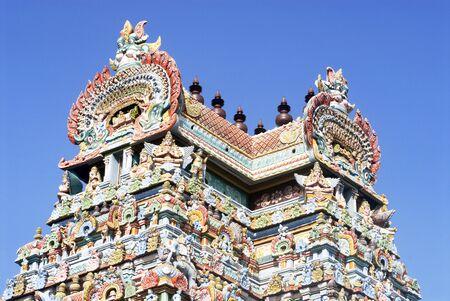 Gopuram richly decorated stucco figures on impressive gateway of Sri Ranganathswami temple,Srirangam,Tiruchirapalli Trichy,Tamil Nadu,India