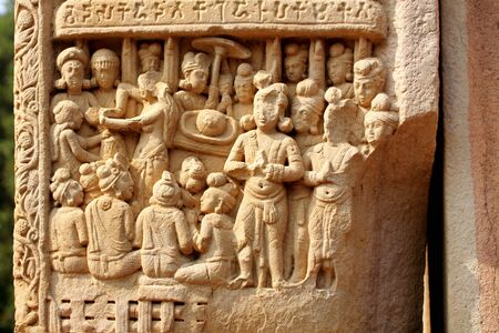 Close-up view of Stories of Buddha seen on southwest pillar inner side of south gateway of stupa 1,Sanchi near Bhopal,Madhya Pradesh,India