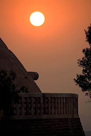 Sunset against Stupa 1 constructed by king Ashoka,Sanchi,Bhopal,Madhya Pradesh,India