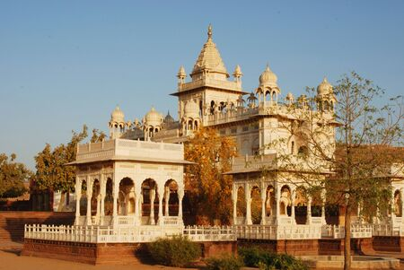 Jaswant Thada and royal cenotaphs and tree in foreground,Jodhpur,Rajasthan,India Stock fotó