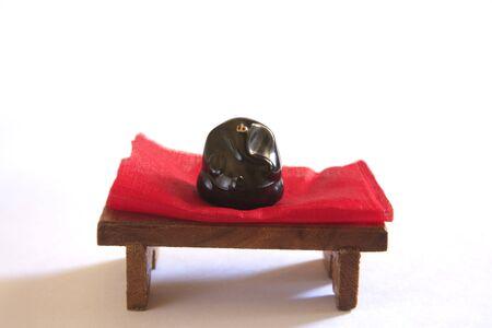 showpiece: Concept,god Ganesha on aasan or seat of small wood stool