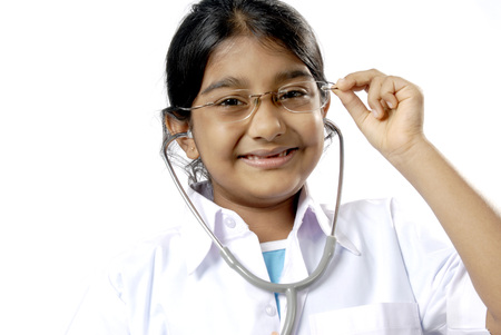 Young girl acting as doctor