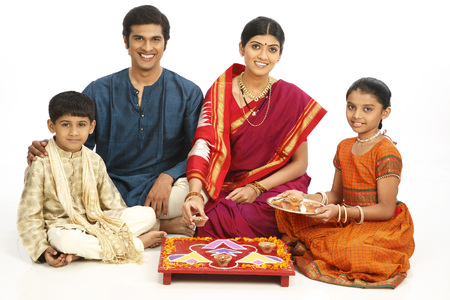 Rich rural farmer family celebrating diwali deepawali festival Stock Photo