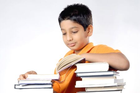 Boy looking at book