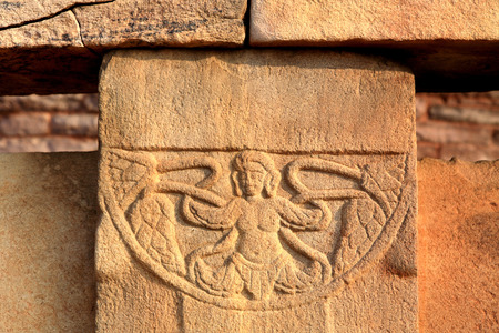 Close view of stupa 2 carved medallions decorate surrounding walls,Sanchi 46Kms northeast of Bhopal,Madhya Pradesh,India LANG_EVOIMAGES