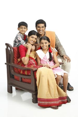 Portrait of rich Indian farmer family