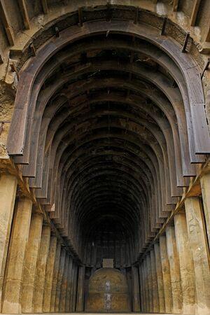 Buddhist stupa and pillars in Bhaja caves in 2nd century B.C .,Lonavala,Maharashtra,India
