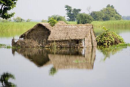 Flood of Bihar 2008 water of Kosi river in Purniya district,Bihar,India Stock Photo