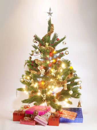 showpiece: Decorated Christmas tree with gift boxes