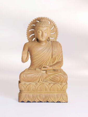 showpiece: God Buddha idol in cedar wood