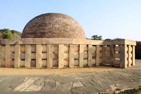 Stupa 2 built by sunga in 2nd century BC representations of Buddha beautifully executed on railing pillars of stupa,Sanchi northeast of Bhopal,Madhya Pradesh,India