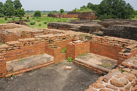 Remains of ancient Nalanda university,Bihar,India Stock Photo