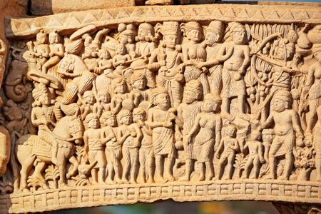 figurines: Close-up of north  gateway of stupa 1 inner view,Sanchi near Bhopal,Madhya Pradesh,India