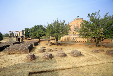 Panoramic view of stupa 1 with smaller stupas and temples and prayer hall on southern side Sanchi near Bhopal,Madhya Pradesh,India