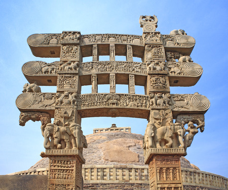 toran: Eastern gateway with three pales showing stories of Buddha stupa No 1,Sanchi near Bhopal,Madhya Pradesh,India