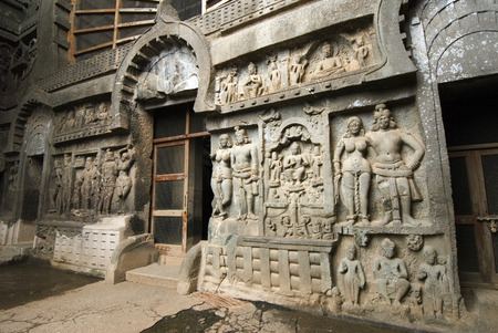 Main entrance of Karla rock cut cave dating from around 2nd century BC in hills near of Lonavala,Maharashtra,India
