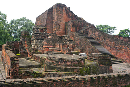 Remains of ancient Nalanda university,Bihar,India Фото со стока