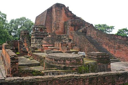 Remains of ancient Nalanda university,Bihar,India Foto de archivo