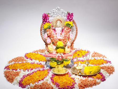 God Ganpati Ganpati creator mounted on big rat on procession of Ganesh chaturthi