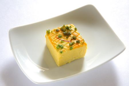 spongy: Indian sweet,sandesh bengali mithai garnish with pistachio and saffron served in plate