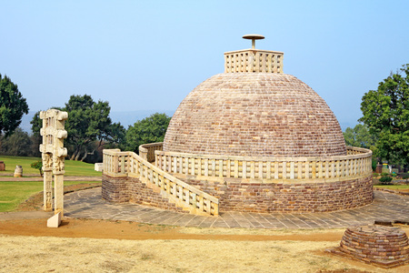 toran: Stupa 3 stands northeast of main stupa 1 and similar in design but smaller only one gateway,Sanchi near Bhopal,Madhya Pradesh,India
