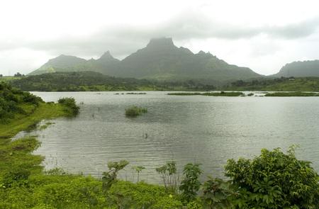 Panvel dam and mountain chanderi in monsoon,Taluka Panvel district Raigadh,Maharashtra,India Stock Photo