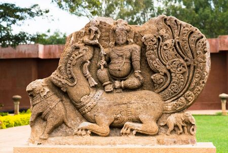 figurines: Sculpture in Durga temple complex,Aihole,Karnataka,India LANG_EVOIMAGES