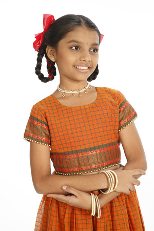 Ten year old rural girl in well dressed hands folded and kept in front of body Stock Photo