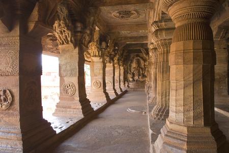 Cave three dedicated to Vishnu largest and most elaborate at Badami,Karnataka,India
