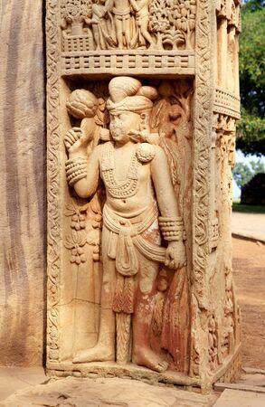 Showing stories of Buddha on lower panel of north pillar front side of eastern gateway of stupa 1,Sanchi near Bhopal,Madhya Pradesh,India