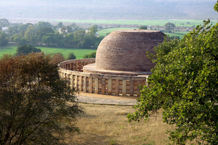 toran: Stupa 2  constructed by king Ashoka encircled by wall,Sanchi 46Kms Northeast of Bhopal,Madhya Pradesh,India