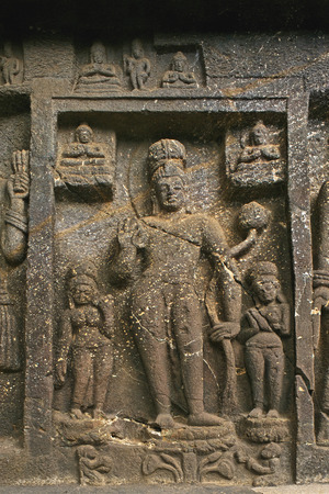 figurines: Sculptures of Buddha in Karla caves in 2nd century B.C.,Lonavala,Maharashtra,India LANG_EVOIMAGES