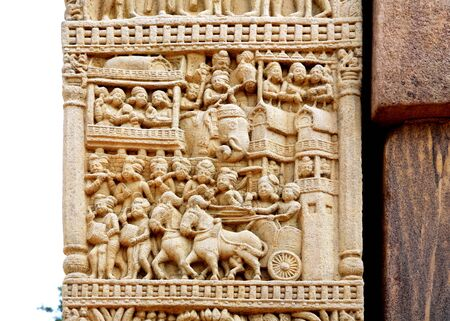 Close-up view of north gateway pillar of stupa 1 showing different story of Buddha,Sanchi near Bhopal,Madhya Pradesh,India
