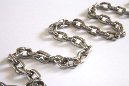 Concept,janjer or chain in twisting shape on white background