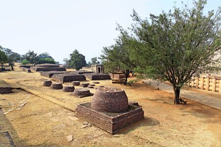 View of southeast side of stupa no 1 showing temples and smaller stupas,Sanchi near Bhopal,Madhya Pradesh,India