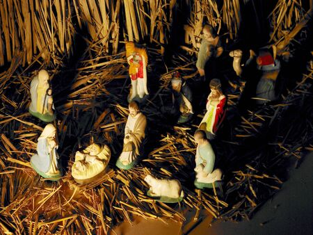 figurines: Birth of Jesus remembrance and re-enactment of nativity scene