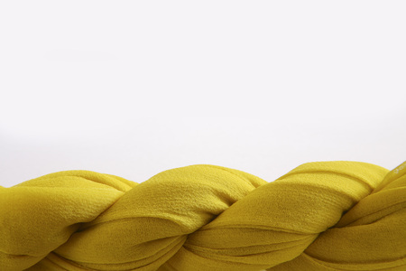 Concept,fabric turn twist on white background
